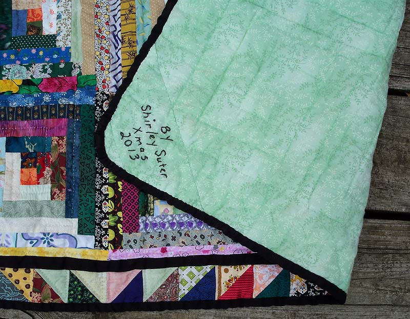 LC quilting, backing, label