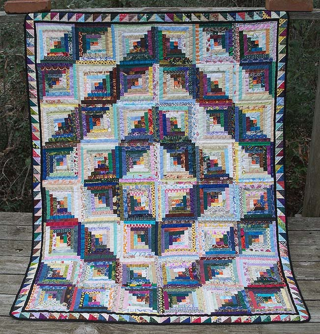 Log cabin sofa quilt