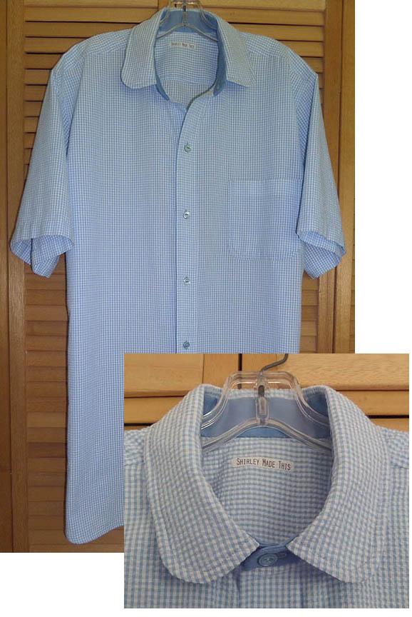 blue seersucker shirt and collar